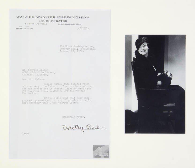 16: PARKER, DOROTHY. Typed letter signed, one page, Jan