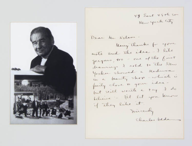 17: ADDAMS, CHARLES. Autograph letter signed, one page,