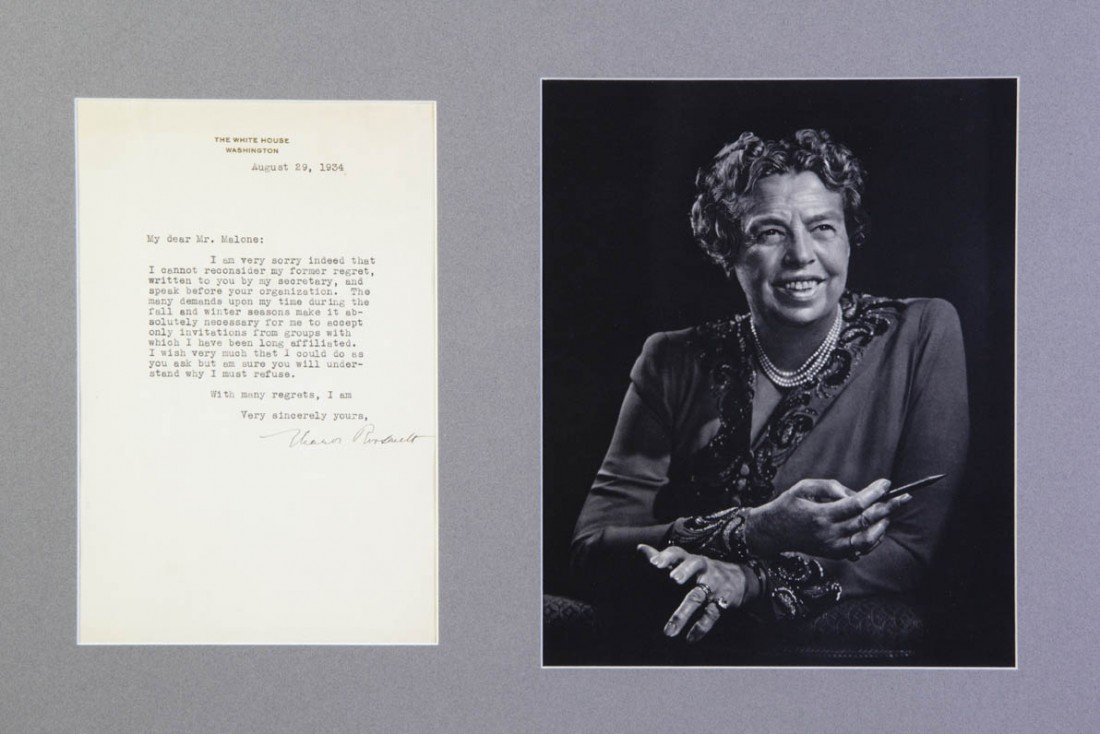18: ROOSEVELT, ELEANOR. Typed letter signed, one page,