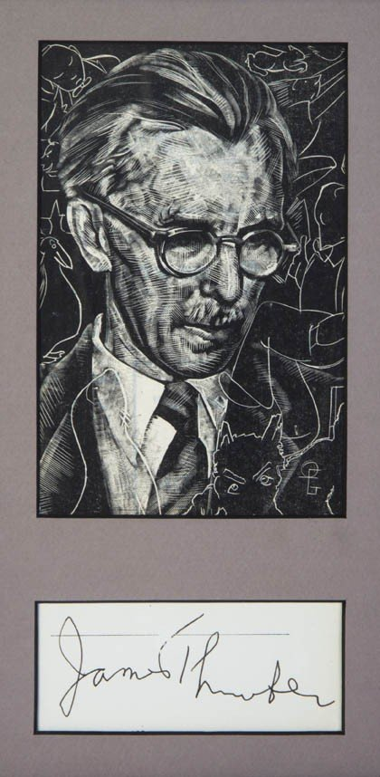 21: THURBER, JAMES. Clipped signature, framed with port