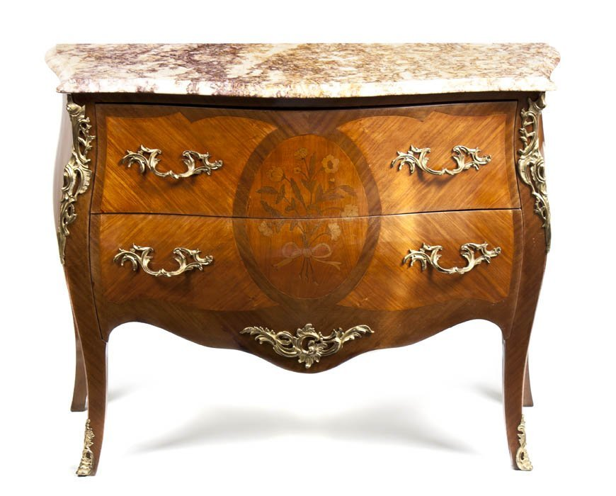 1: A Louis XV Style Gilt Bronze Mounted Parquetry Commo