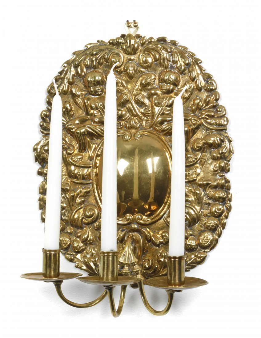 4: A French Three-Light Hammered Brass Sconce, Height 1