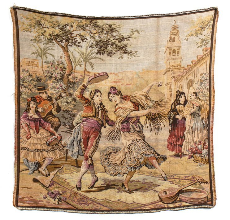 7: A Continental Wool Tapestry, Height 38 x width 39 in