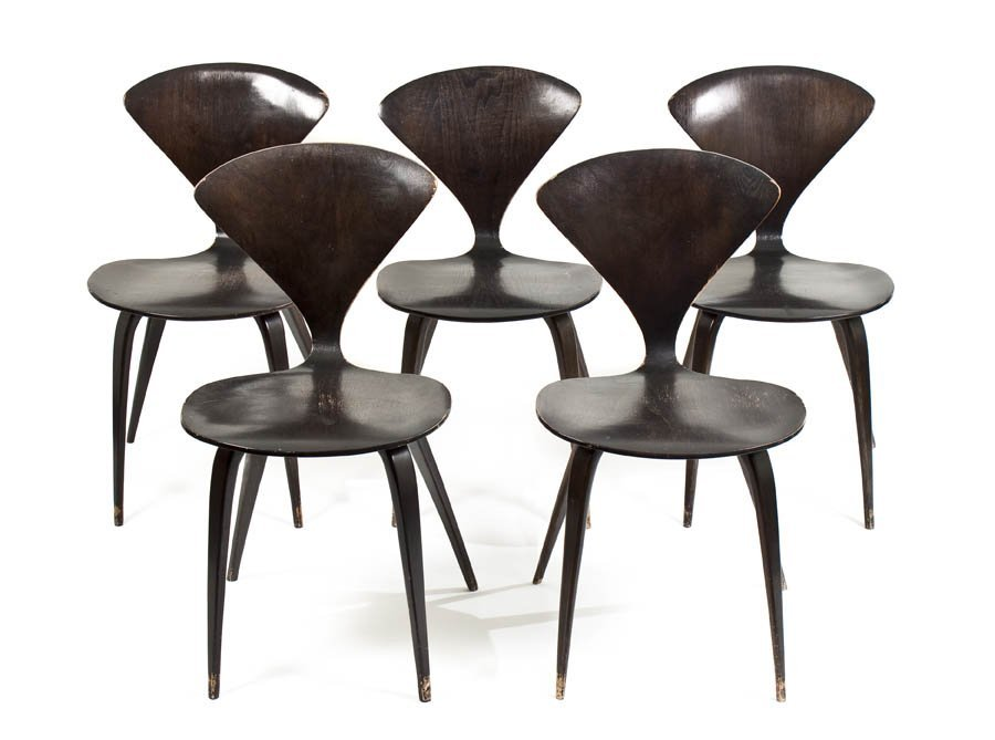 13: A Set of Five Side Chairs, after Cherner, Height 31