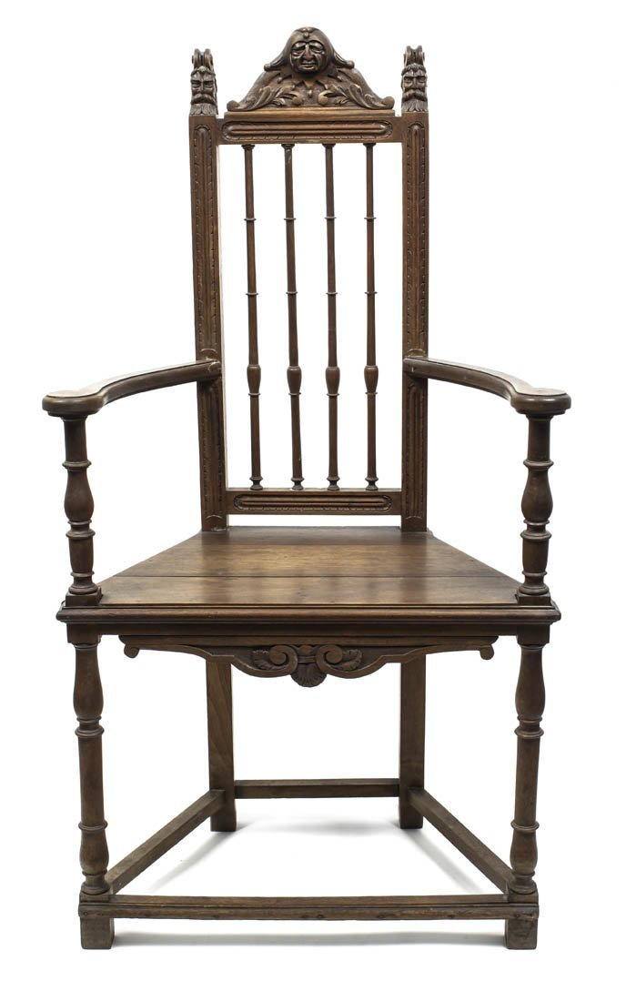 14: A Gothic Revival Oak Side Chair, Height 45 x width