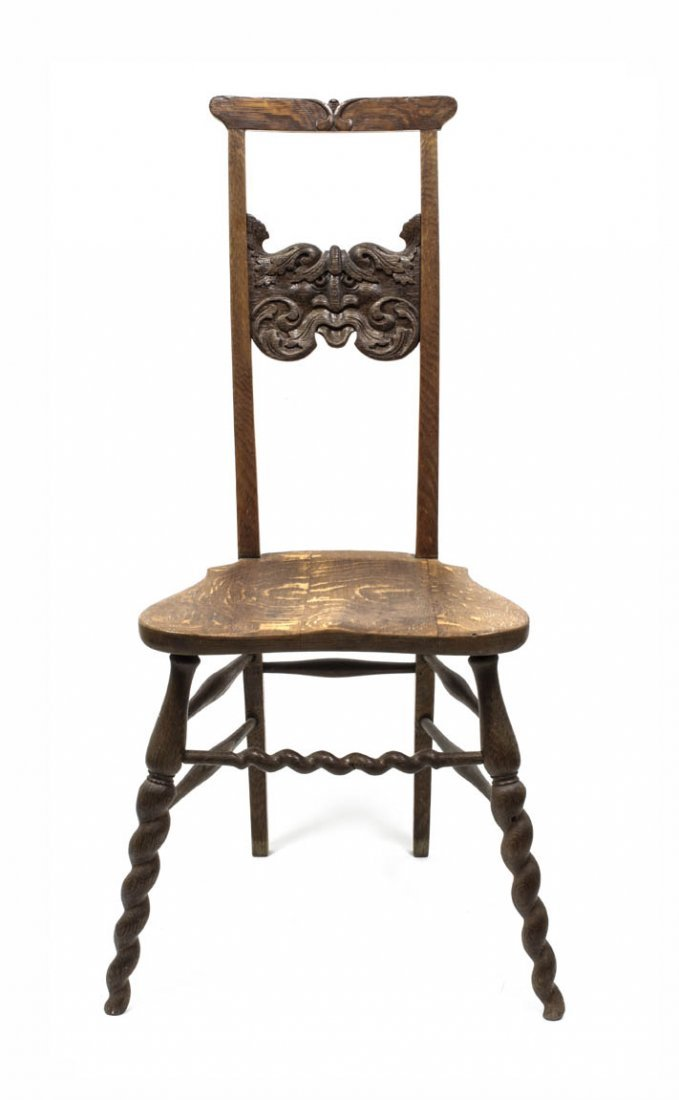 15: A Gothic Revival Oak Side Chair, Height 39 x width