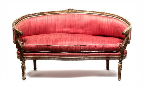 18: A Louis XVI Style Settee, Height 33 1/2 x width 59
