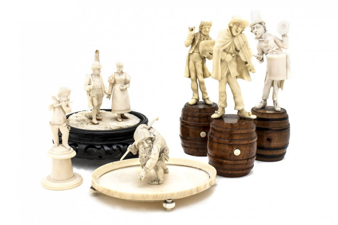 23: A Collection of Six Continental Ivory Figures, Heig