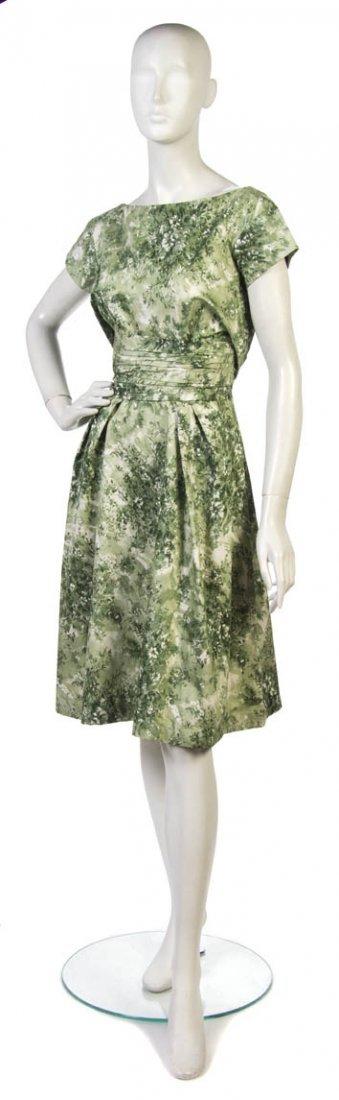 1: A Ceil Chapman Green Silk Cotton Floral Day Dress,