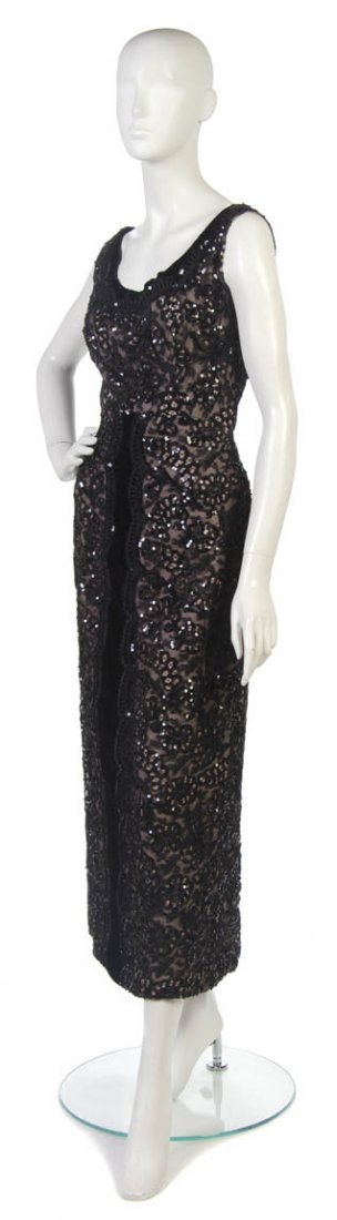 4: A Pierre Balmain Black Lace and Sequin Evening Gown,