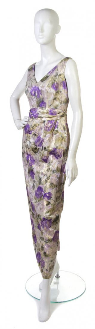 5: A Floral Brocade Evening Gown,