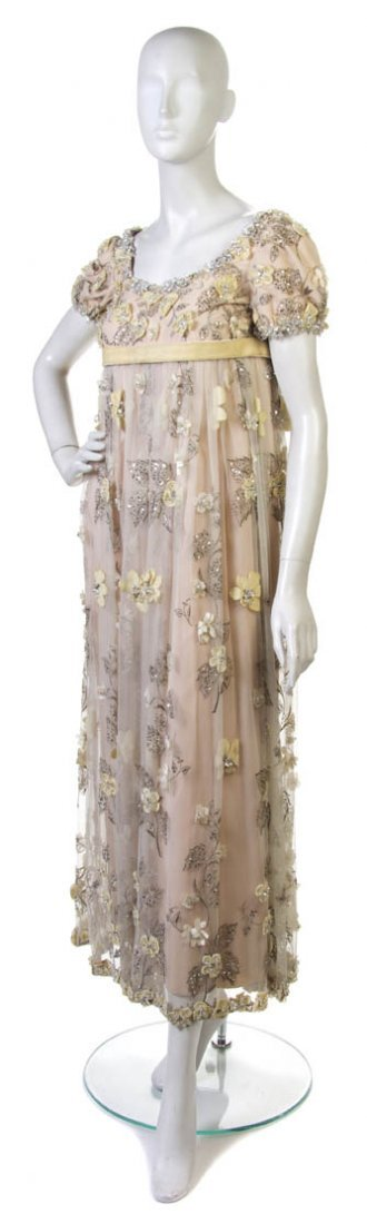 8: A George Halley Off-White Tulle Evening Gown,