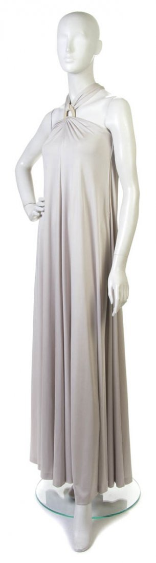 11: A Donald Brooks Taupe Jersey Evening Gown, Size 8.