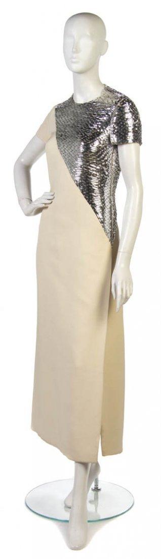 12: A Castillo Cream Silk Evening Gown,