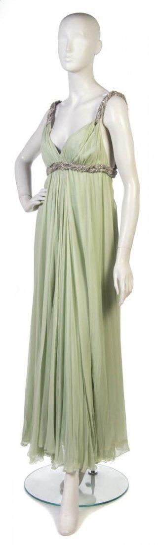 17: A Sarmi Pale Green Silk Chiffon Evening Gown,