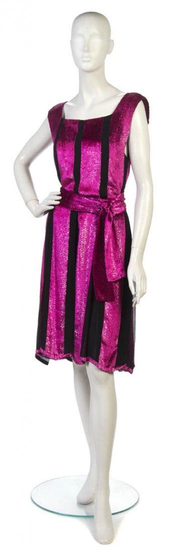 21: A Pauline Trigere Black Silk Chiffon and Pink Velve