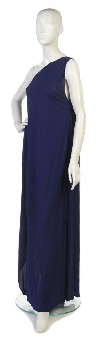 22: A Pauline Trigere Purple Silk Evening Gown,