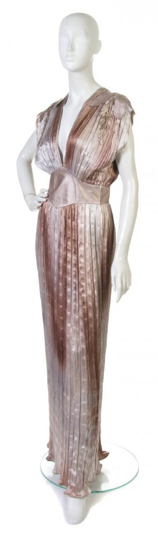 73: A Roberto Cavalli Pleated Silk and Leather Evening
