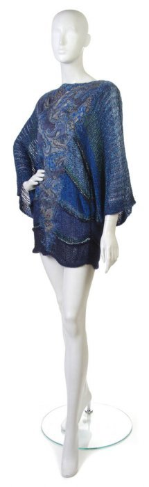 A Mali Blue Beaded And Knit Sweater.