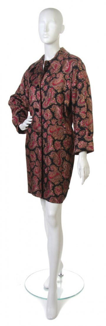 81: A Jean Muir Red Paisley Silk Dress Coat. Size 10.