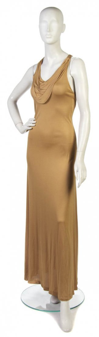 88: A Stephen Burrows Tan Jersey Evening Gown,