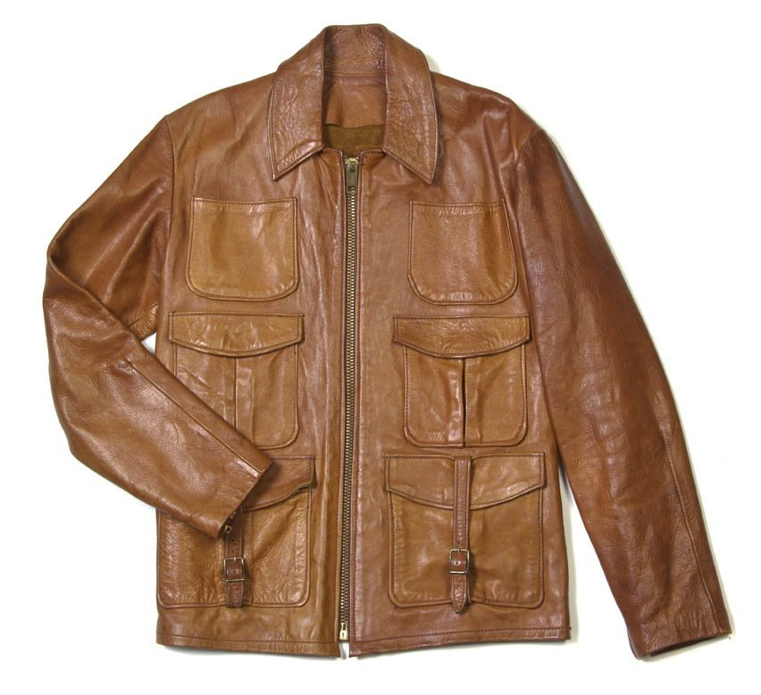 90: An East West Brown Leather Jacket.