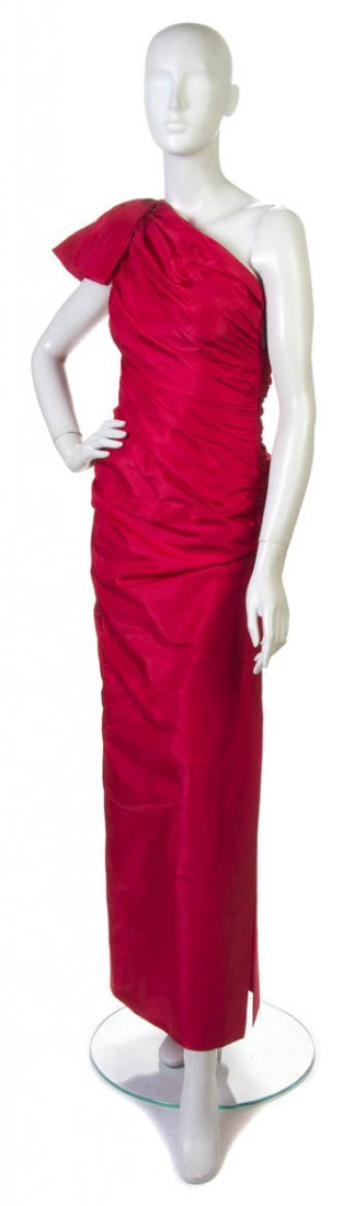 91: A Lanvin Red Ruched Silk Taffeta Evening Gown, Size