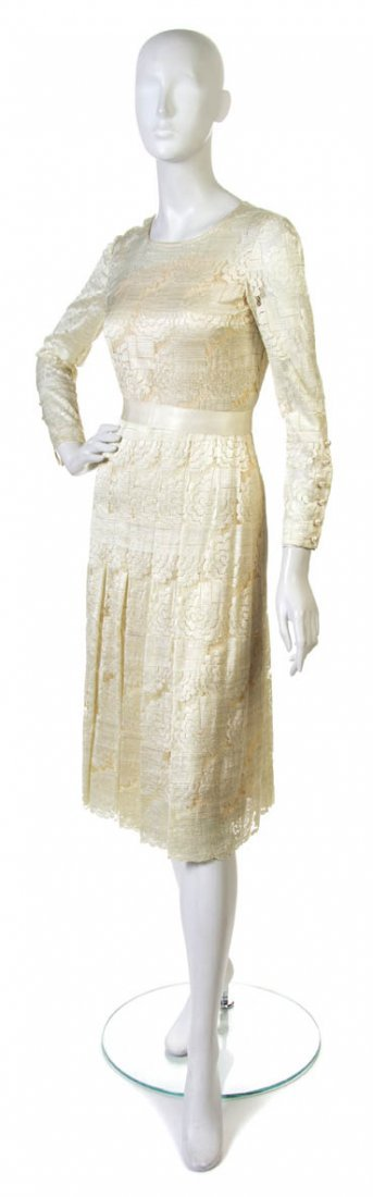 94: A Couture Cream Lace Day Dress,