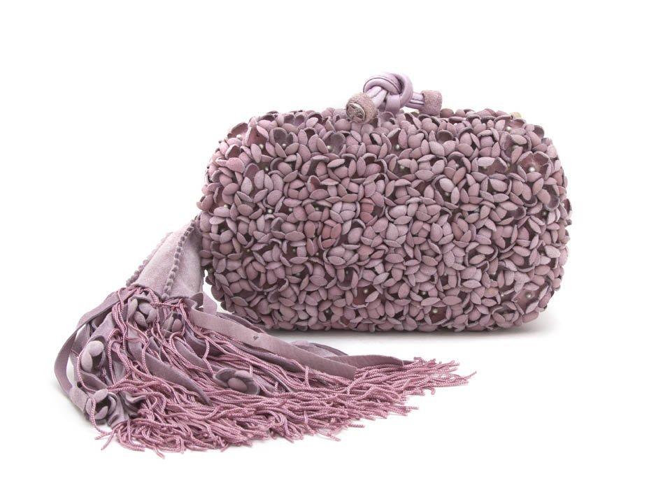 464: A Bottega Veneta Lavender Suede Hardsided Clutch,