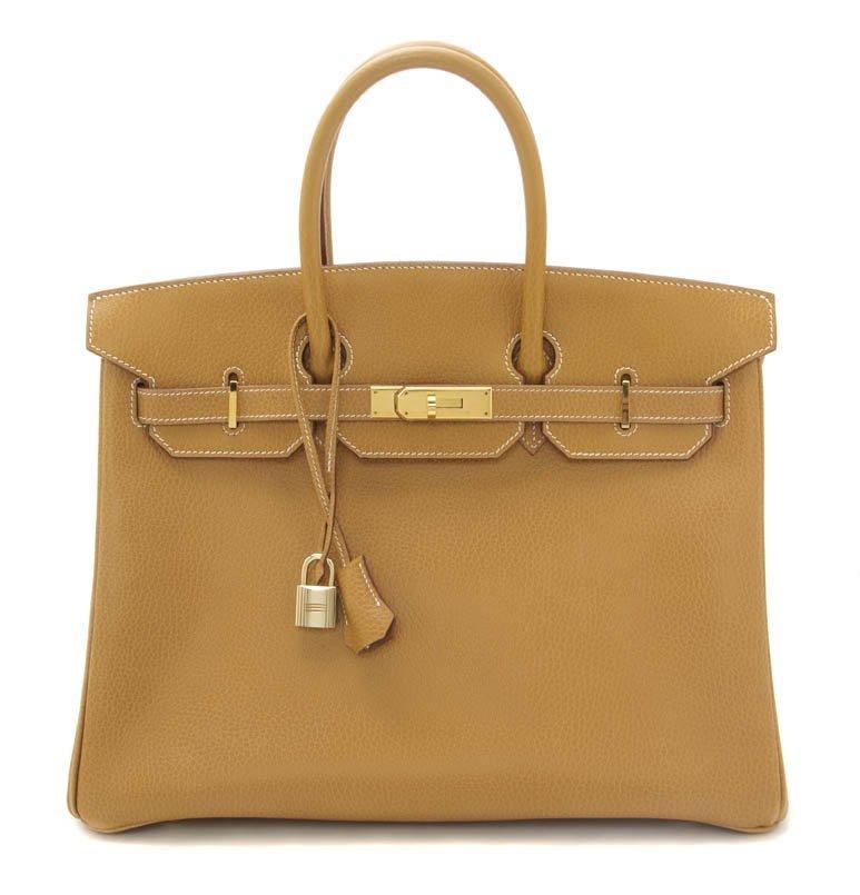 499: An Hermes Tan Leather Birkin Bag, 35 x 26 x 13 cm