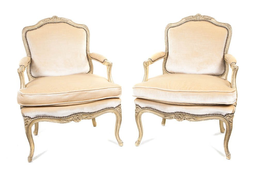 1: A Pair of Louis XV Style Painted Fauteuils, Height 3