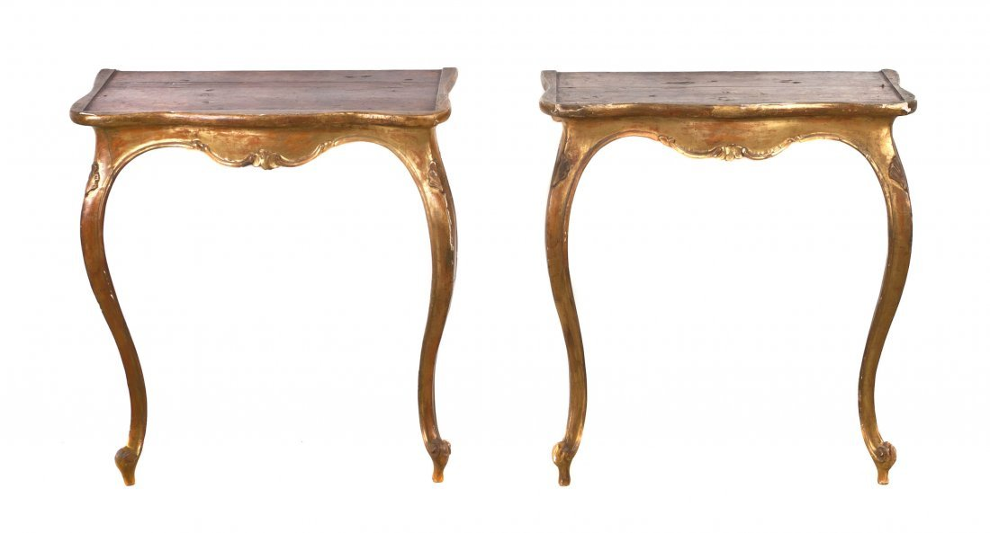 2: A Pair of Louis XV Style Giltwood Console Tables, He
