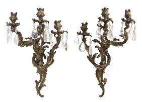 A Pair Of Louis XV Style Gilt Bronze Three-Light Sco