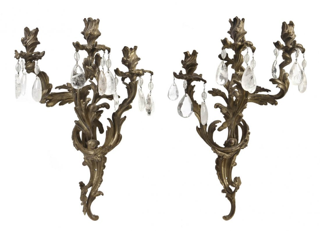 3: A Pair of Louis XV Style Gilt Bronze Three-Light Sco