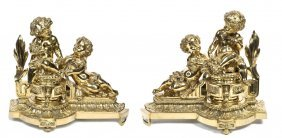 4: A Pair of Gilt Bronze Figural Chenets, Height 14 inc