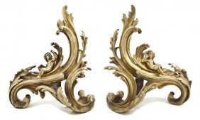 7: A Pair of Rococo Style Gilt Bronze Chenets, Height 1