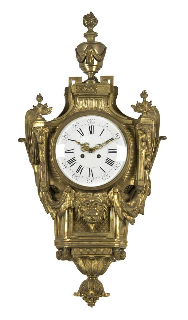 8: A Louis XV Style Gilt Bronze Cartel Clock, Height 30