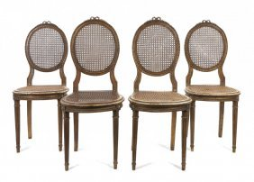 A Set Of Four Louis XV Style Side Chairs, Height 38