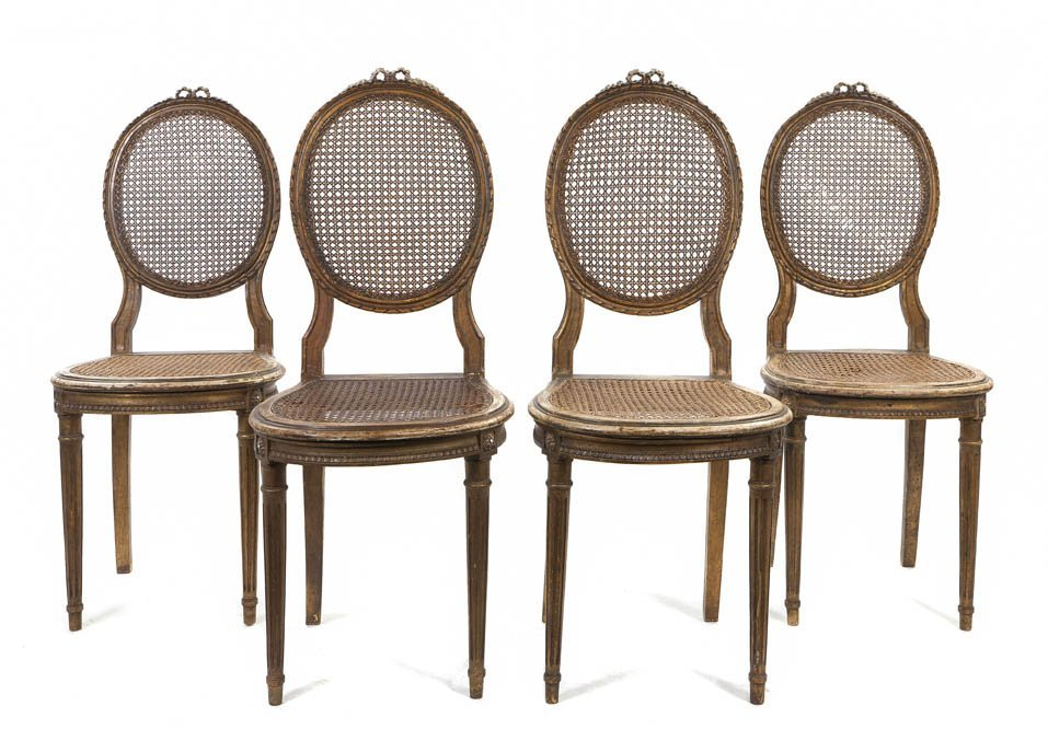 9: A Set of Four Louis XV Style Side Chairs, Height 38