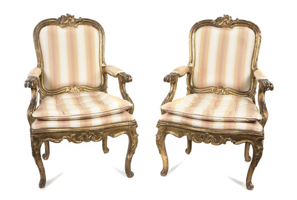 10: A Pair of Louis XV Style Giltwood Fauteuils, Height