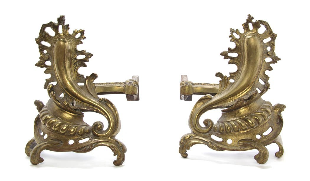 15: A Pair of Louis XV Style Gilt Bronze Andirons, Heig
