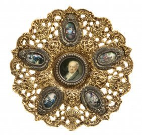 17: A Gilt Bronze and Enameled Charger, Diameter 14 1/2