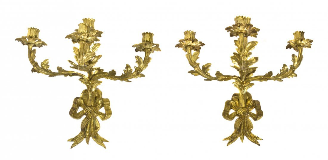 19: A Pair of Louis XV Style Gilt Bronze Four-Light Sco