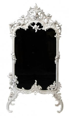 20: A Rococo Style Painted Metal Firescreen, Height 45