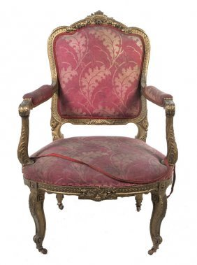 A Louis XV Style Giltwood Fauteuil, Height 42 1/2 I