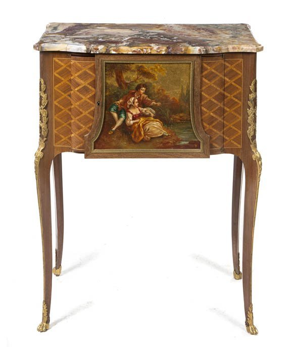 23: A Louis XV Style Parquetry and Gilt Bronze Mounted