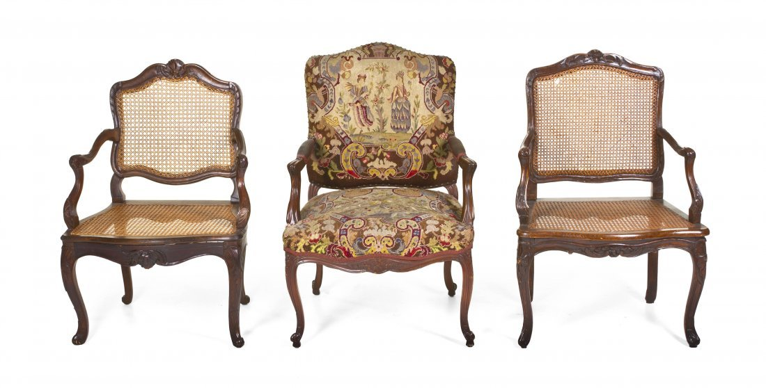 24: A Group of Three Louis XV Style Mahogany Fauteuils,