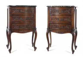 A Pair Of Louis XV Style Side Chests, Height 35 Inc