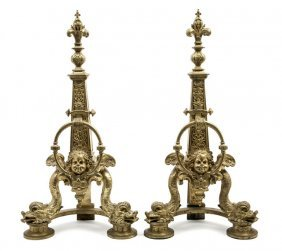 A Pair Of Neoclassical Gilt Metal Andirons, Height