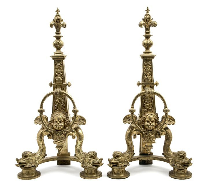 50: A Pair of Neoclassical Gilt Metal Andirons, Height